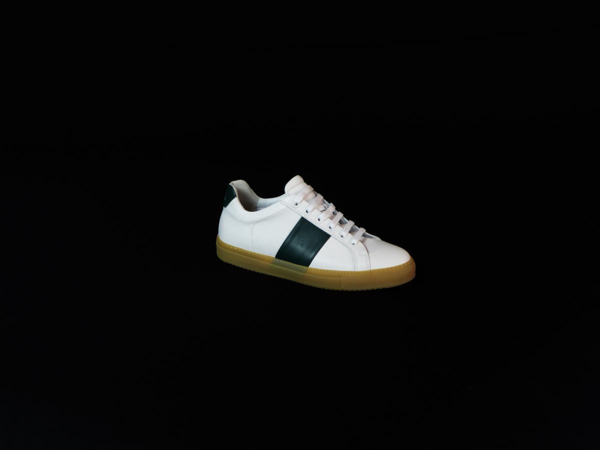 sneakers blanche bande verte